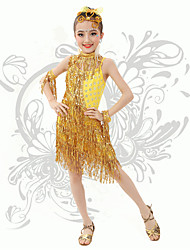Latin Dance Children's Fashion Performance Spandex Sequins / Tassel(s) Dresses