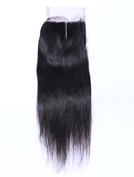 Natural Black Straight Human Hair Closure Medium Brown Swiss Lace gram Cap Size