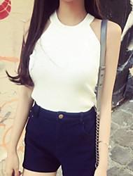 Women's Solid White / Beige / Black Vest,Sexy / Street chic Sleeveless