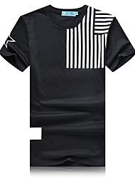 Men's Striped Casual / Sport T-Shirt,Cotton Short Sleeve-Black