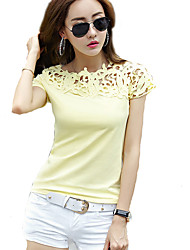 Women's Solid White / Yellow T-shirt,Round Neck Short Sleeve