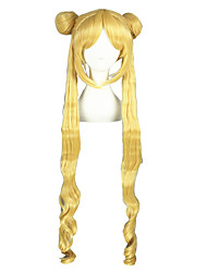 Cosplay Wigs Sailor Moon Sailor Moon Golden Long Anime Cosplay Wigs 100 CM Heat Resistant Fiber Male / Female