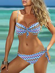 Womens Color Block Wave Print Push Up Bathing Suit Bikini