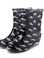 Women's Shoes Silicone Wedge Heel  Rain Boots / Round Toe Boots Casual Black