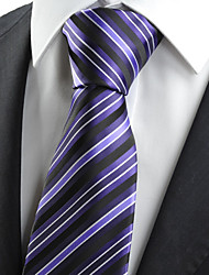 KissTies Men's Necktie Purple Black Striped Wedding Formal Business Work Casual Tie With Gift Box