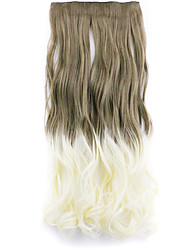 Dark Brown and Golden and Brown Length 60CM Synthetic Gradient Five Card Hair Long Straight Hair Wig(Color 10T613)