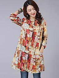 De las mujeres Estampado Camisa-Escote Chino-Rayón-Manga Larga