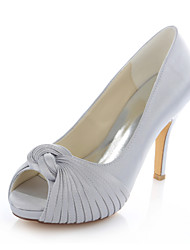 Women's Shoes Stretch Satin Stiletto Heel Heels / Peep Toe Sandals Wedding / DressPink / Purple / Ivory / Silver /