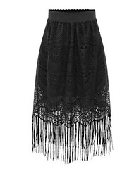 Jupes Aux femmes Midi Vintage / Street Chic Polyester Micro-élastique