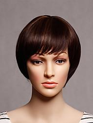 capless courts synthétiques couleur brune droites perruques travestissement synthétiques