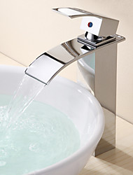 Contemporary / Modern Vessel Waterfall with  Ceramic Valve Single Handle One Hole for  Chrome , Bathroom Sink Faucet