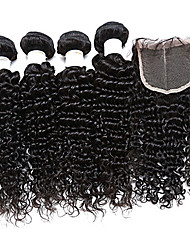 cabelo virgem malaio 4 pacotes com fecho de cabelo encaracolado malaio com fecho de cabelo humano encaracolado Kinky com fechamento