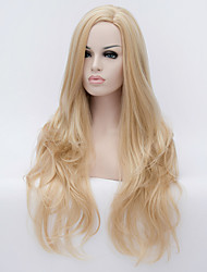 Top Quality Long Size Blonde Curly Wavy Hair Synthetic Wigs