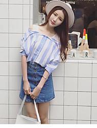 Women's Striped Blue Set,Off Shoulder ½ Length Sleeve