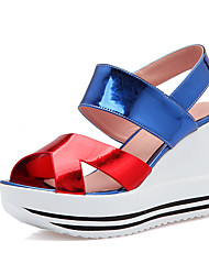 Women's Shoes/ Patent Leather Wedge Heel Wedges / Slingback/Open Toe Sandals Office & Career / Dress Blue / Red / Silver