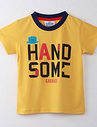 Tee-shirts Fille de Points Polka Coton Eté Jaune