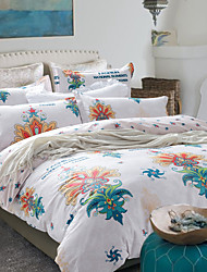 4PC Duvet Cover Set Cotton Floral Pattern Queen Size
