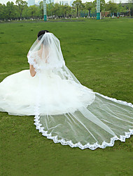 Wedding Veil One-tier Fingertip Veils / Cathedral Veils Lace Applique Edge Tulle White White