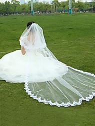 Hochzeitsschleier Einschichtig Fingerspitzenlange Schleier Kathedralen Schleier Spitzen-Saum Tüll Weiß