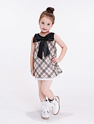 Girl's Purple / Beige Dress,Plaid Polyester Summer