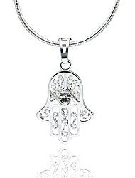 Classic Crystal AAA Zircon Fatima's Hand Pendant Platinum Plated Necklace,Fine Jewelry Gift Unisex (Include Chain 45CM)Imitation Diamond Birthstone