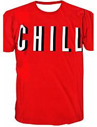 Tee-Shirt Pour des hommes A Motifs Sport Manches Courtes Polyester Rouge