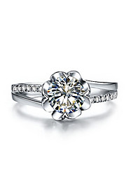 Flower Style 0.5CT SONA Diamond Engagement Ring for Bride Sterling Silver Jewelry Ring Elegant Propose Gift for Girl
