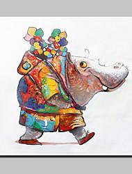 большой ручной росписью холст картины маслом современного абстрактного животное бегемот картина с натянутой рамы готовы повесить