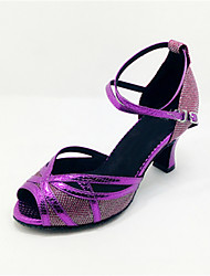 Customizable Women's Dance Shoes Latin Leatherette Flared Heel Purple