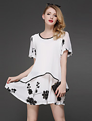 Women's Street chic Floral Plus Size / Loose Dress,Round Neck Above Knee Polyester