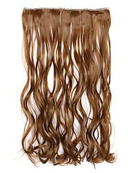 vague d'eau le plus léger morceau d'extension de cheveux cinq clips de volume de la carte brune morceau synthétique 5 clip perruque de