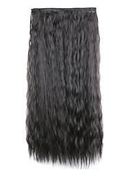 crépus brun synthétique bouclés clip maïs chaud morceau de cheveux noirs cinq clips floconneux morceau perruque