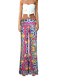 Women's Patchwork Pink Wide Leg Pants,Vintage / Casual / Day