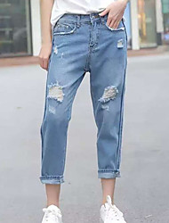 Women's Solid Blue Jeans Pants,Sexy