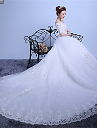 Ball Gown Wedding Dress-Ruby / White Cathedral Train Off-the-shoulder Lace / Satin / Tulle