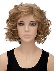 Woman's Light Blonde Color Curly Short Synthetic Wigs