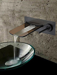 Wall Mounted Oil-rubbed Bronze Waterfall Bathroom Sink Faucet - Black