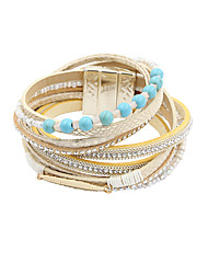 leather Charm BraceletsFashion Women Stone Set Beaded Leather Wrap Bracelet