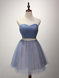 Ball Gown Strapless Short / Mini Satin Tulle Cocktail Party Prom Dress with Sash / Ribbon Side Draping by FALILU