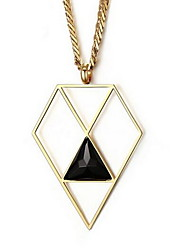 Women's Fashion Rhombus Gold Steel Pendant for Necklace