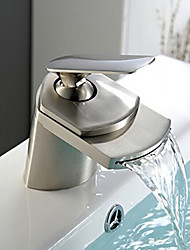 Waterfall Bathroom Sink Faucet Widespread Contemporary Design Faucet - Nickel Brushed
