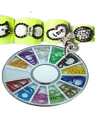 1pcs 12 Colors New Round Bowl Nail Art Jewelry Chain Colorful Colors Design Nail Art DIY Decoration NAO18