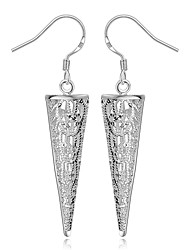 Women's S925 Silver Plated Hollow Out Cone Drop Earrings(Color Preserving More Than A Year)