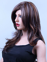 Fashion Girl in Long Hair Multi-color Natural Straight Wavy Hair Synthetic Wig