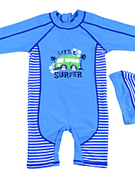 Baby Boy's Summer Blue Swimming 2pcs/set Swimsuit with Hat/ Half Sleeve Swimwear/Striped Tankinis for 4~10 Years
