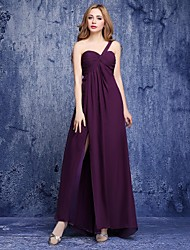 Floor-length Chiffon Bridesmaid Dress - A-line One Shoulder with Side Draping