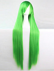 Europe And The United States The New Color Wig 100 CM High Temperature Silk green Long Straight Hair Wigs