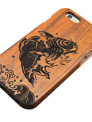 Pear Wooden Leaping Fish Carving Protective Back Cover Hard iPhone Case for iPhone 5S/iPhone SE/iPhone 5
