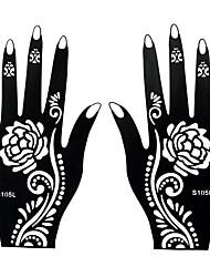 2pcs dentelle fleur corps motif henné aérographe pochoir de tatouage tatouage temporaire pour l'autocollant d'art de la main s105