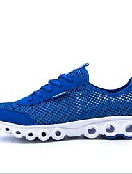 tênis de corrida das mulheres tule liso conforto calcanhar sapatilhas da forma atlético azul / rosa / fúcsia